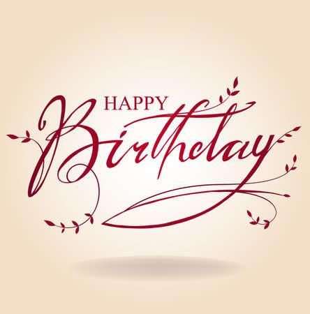 flores de cumpleaños: Cumpleaños inscripción Vectores