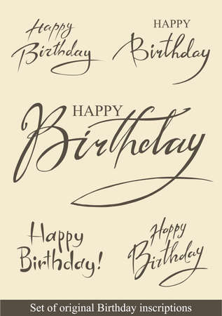 wish of happy holidays: Birthday inscriptions Illustration