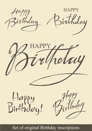 Birthday inscriptions Vettoriali