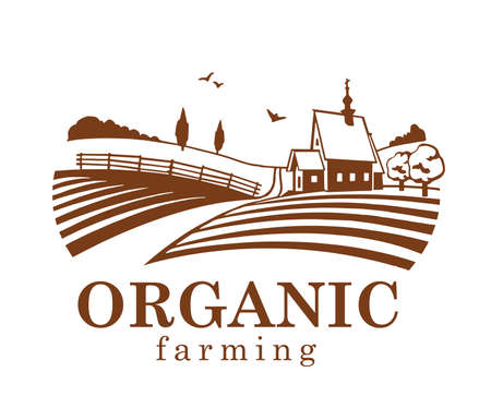 agriculture field: Organic farming design element.