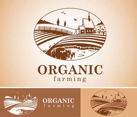 old farm: Organic farming design element.