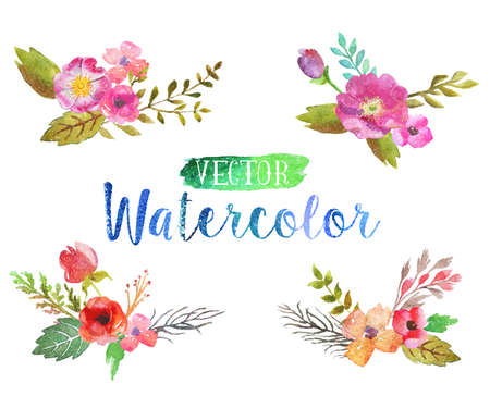 spilling: Vector watercolor aquarelle flowers and leaves.