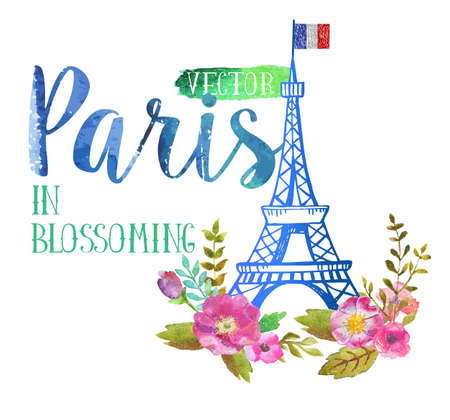 e ink: Vector greeting card from Paris Illustration