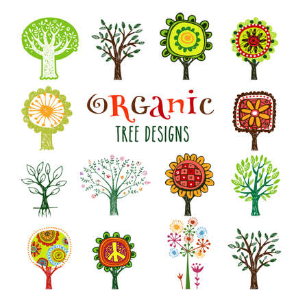 Ornate vector trees. Stock Illustratie