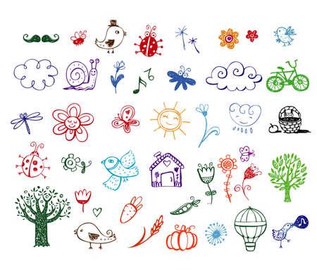 Set of Eco doodles Vector