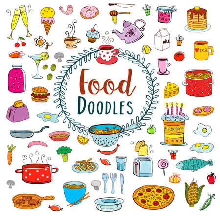 kitchen ware: Meal and ware doodle set