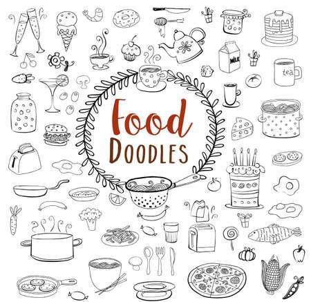 Comida y conjunto doodle de cerámica