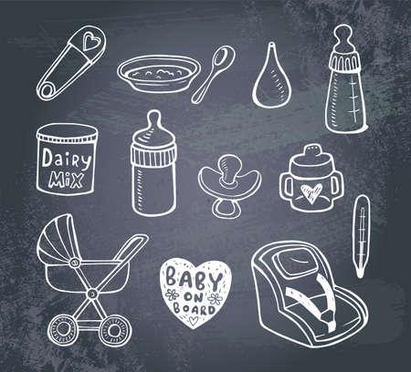 bebe a bordo: Conjunto de iconos garabato infantil