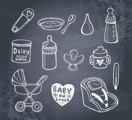 black baby boy: Infant  doodle Icon set