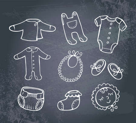 baby shoes: Infant clothes Icon set