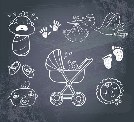 cigogne: Icon set infantile Illustration