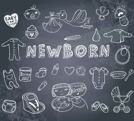 Newborn doodles set