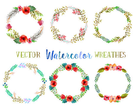 Vector watercolor wreathes. Vector