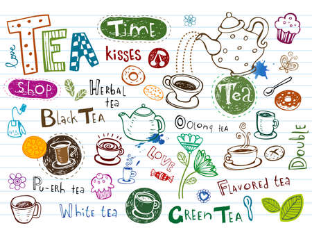 Tea Doodles Vettoriali