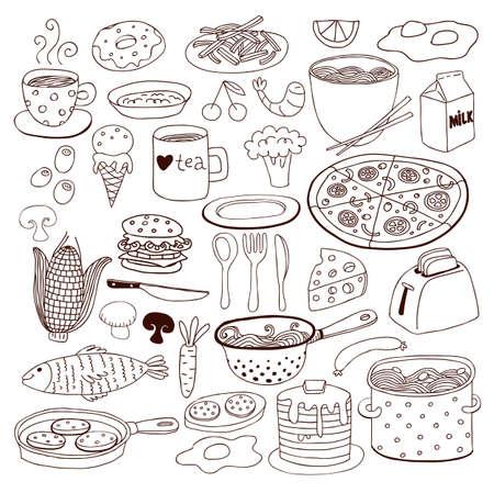 elote caricatura: Comida y conjunto doodle de cerámica