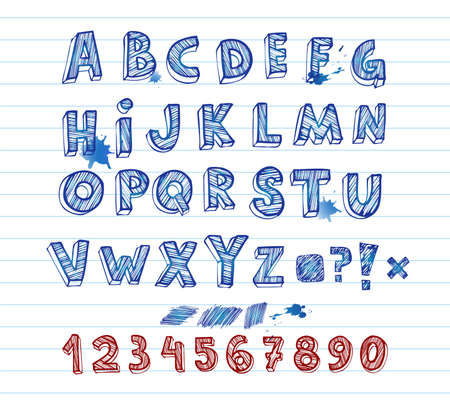 all caps: Hand drawing alphabet