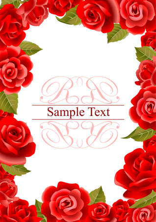 art border: Frame from red roses