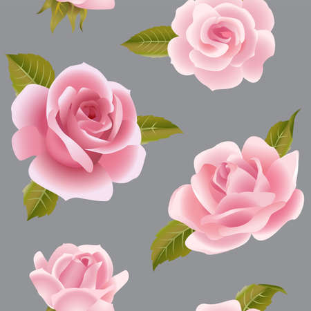 Seamless background with pink roses.
