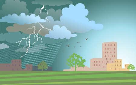 clouded sky: Vector illustration of urban landscape.