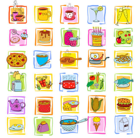 fried: Doodle food set of various products, fruits, vegetables and much more. Illustration