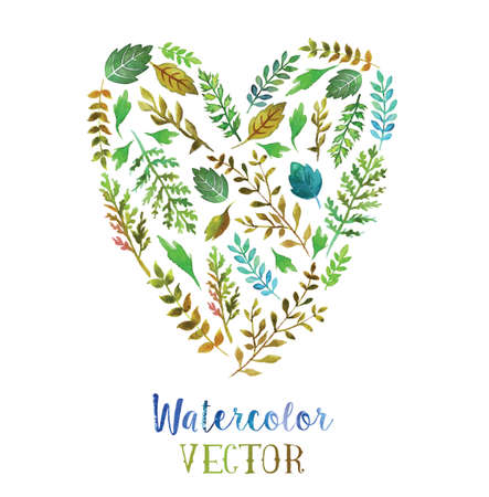 blue circle: Vector heart made of watercolor  leaves possible to use as ecology emblem. Illustration