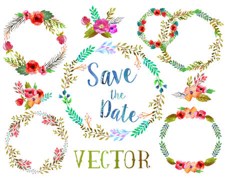 Vector watercolor wreathes with leaves and flowers, possible to for wedding invitation. Иллюстрация