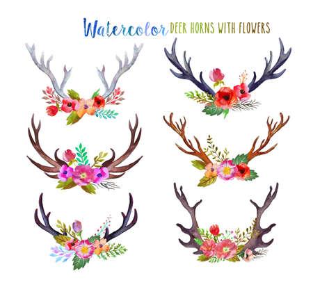 Watercolor deer horns with flowers. Archivio Fotografico