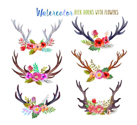 Watercolor deer horns with flowers. Banque d'images