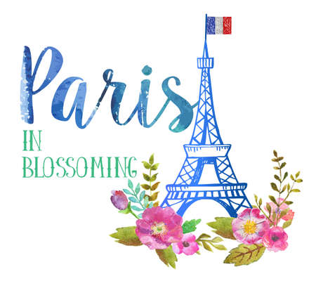 vintage art: Greeting card from Paris in blossoming. The watercolor art paint on white background