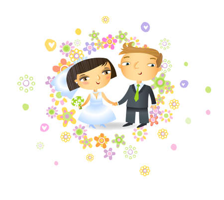 white dress: Bride and groom in cute cartoon style, possible to use as Wedding invitation. Illustration