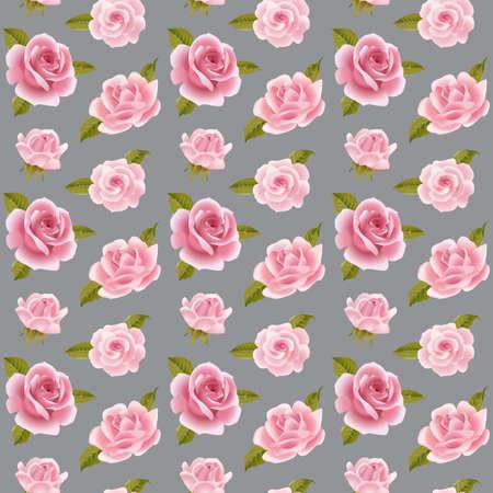 english rose: Vintage vector pink roses seamless pattern