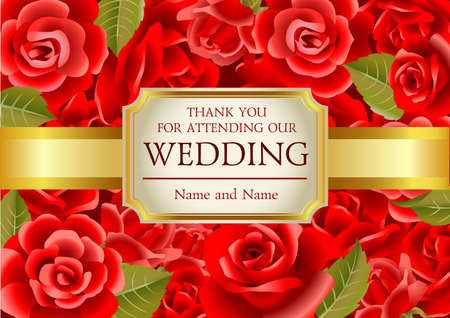 burgundy ribbon: Wedding invitation on red roses background, vector illustration.