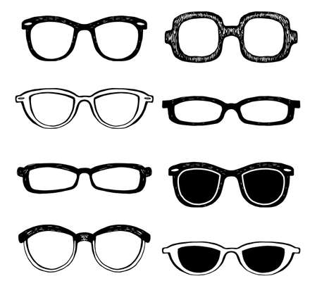 old items: Drawn glasses vector set. Retro hipsters style. Illustration