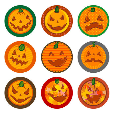 Hallooween Vector drink coasters with funny pumpkins for any party. Illustration