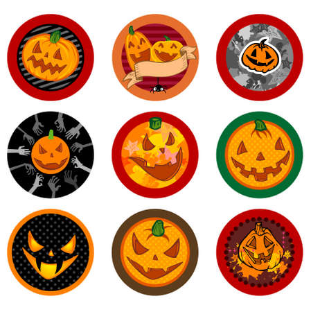 hallooween: Hallooween Vector drink coasters with funny pumpkins for any party. Illustration
