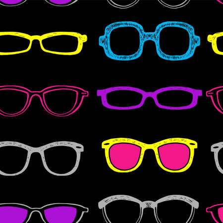 Seamless background with black eyeglass frames