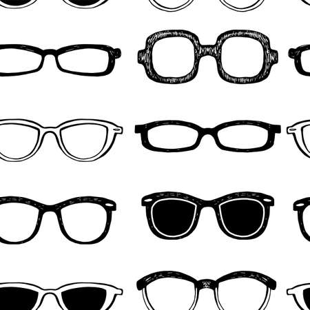 eyeglass: Seamless background with black eyeglass frames
