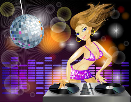 decks: Beautiful DJ girl on decks on the party. Template for party Illustration