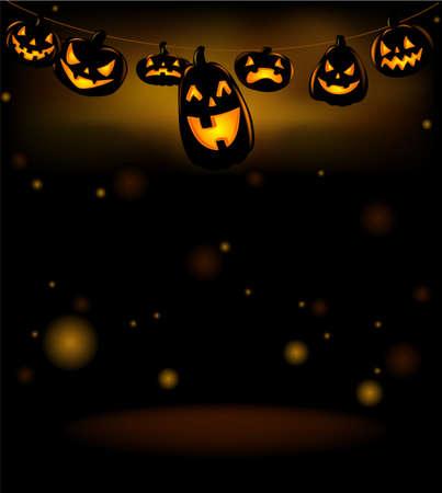 Vector illustration of Happy laughing Halloween lanterns. Illustration