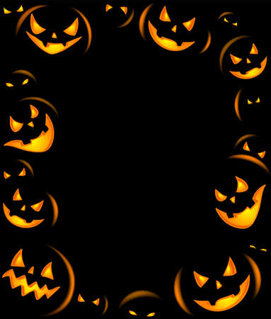 grinning: Frame of Grinning Halloween lanterns for banners or invite cards