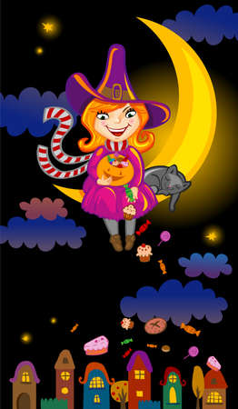 strew: Halloween greeting card or invitation with cute cartoon witch