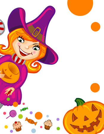 strew: Halloween greeting card or invitation with witch and Jack-o-lantern