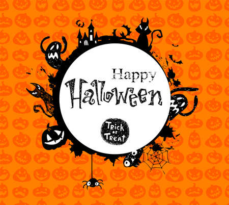 Halloween vector frame with silhouettes of bats, cat, jack o lantern Illustration