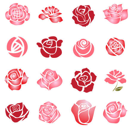 Set of rose flower design elements 일러스트