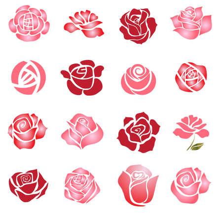 Set of rose flower design elements Vettoriali