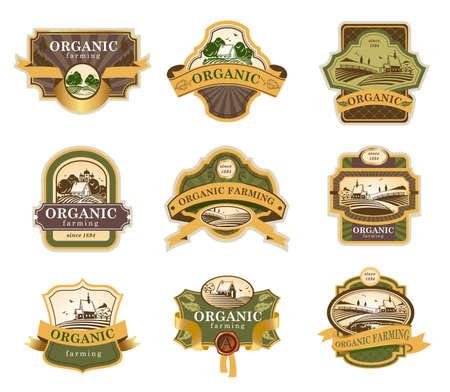 granja: Lables vector para productos agrícolas orgánicos con paisajes rurales.