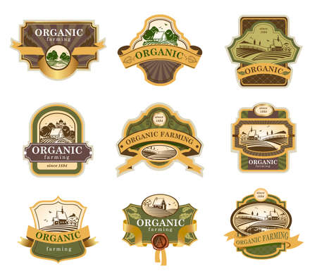 and organic: Vector lables for Organic farming products with rural landscapes.