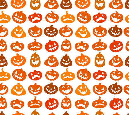 cute wallpaper: Halloween seamless background with the lovely smiling pumpkins Illustration