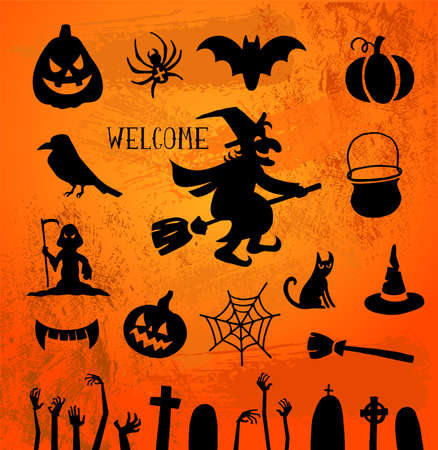 discoteque: Set of silhouettes for Halloween party Illustration