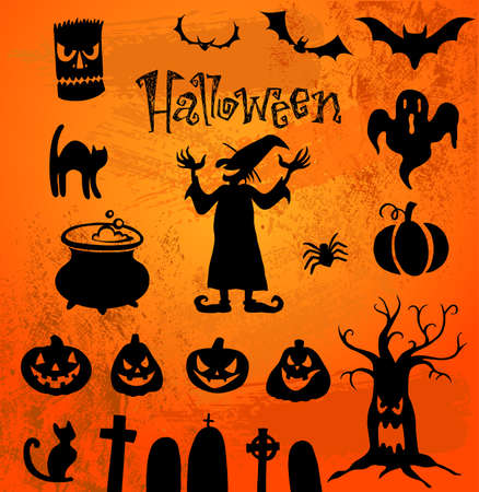 Set of silhouettes for Halloween party Illustration